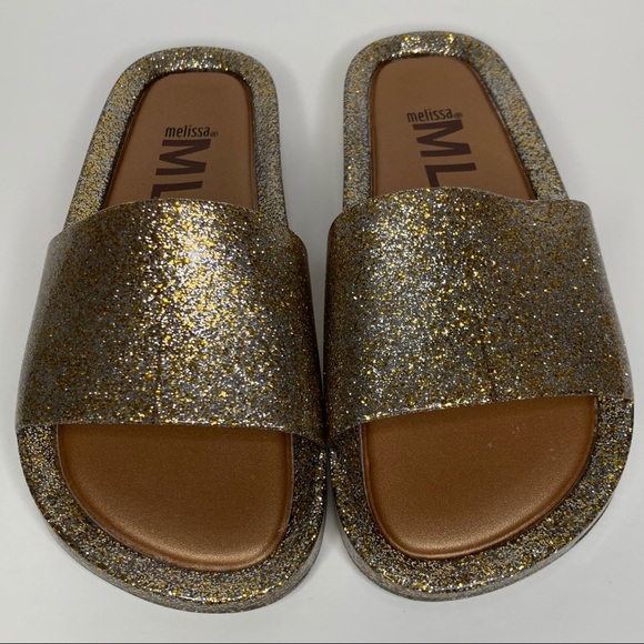 Melissa Beach Slide Mixed Gold Glitter